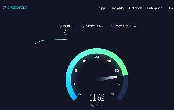 Процесс диагностики в онлайн-измерителе скорости интернета SpeedTest