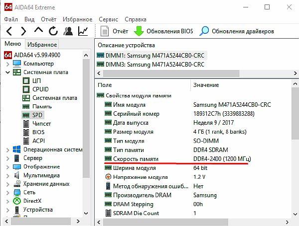 Информативная сводка об используемой ОП в AIDA 64