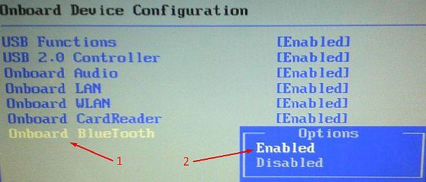 Включение функции Bluetooth в BIOS