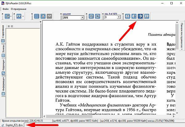 Кнопки управления навигацией djvu reader