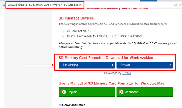 Официальный сайт программы SD Memory Card Formatter