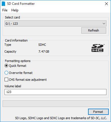 Форматирование карты памяти