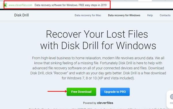 Скачивание Disk Drill с официального сайта