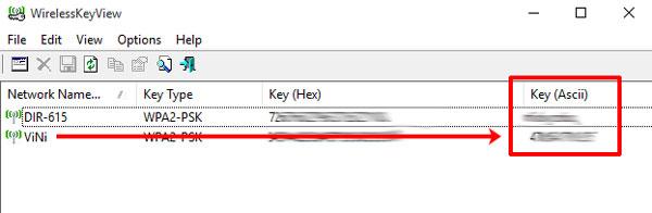 Список сетей с паролями