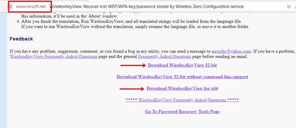 Кнопки для скачивания WirelessKeyView
