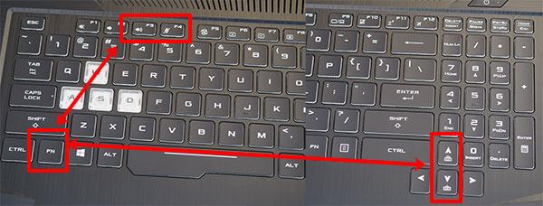 Сочетания клавиш для регулировки яркости клавиатуры