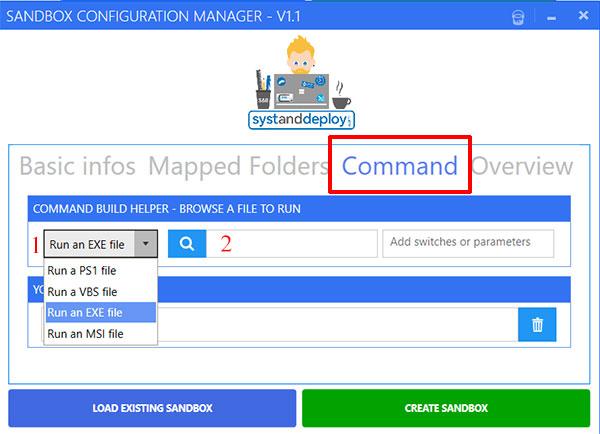 Вкладка Command