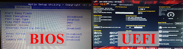 Различие BIOS и UEFI