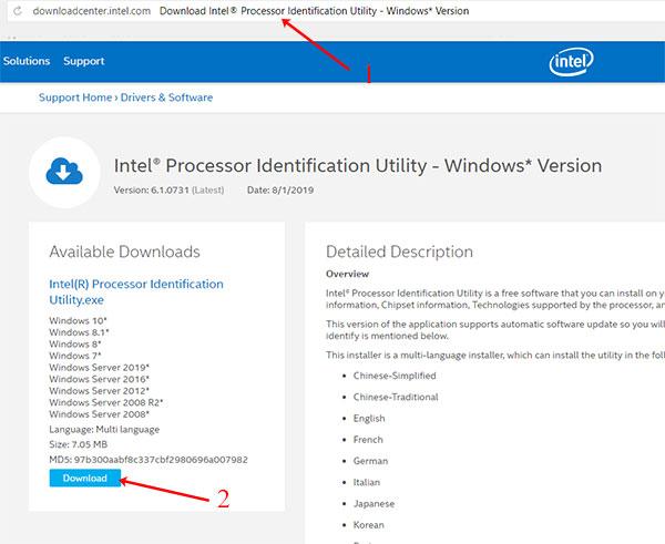 Скачивание Intel Processor Identification Utility