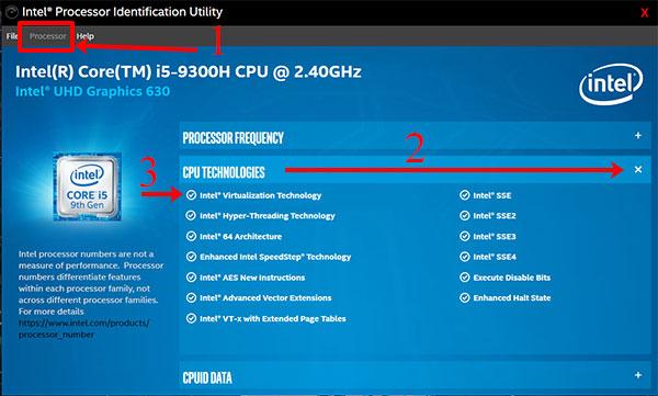 Интерфейс Intel Processor Identification Utility