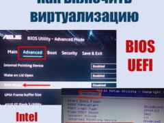 Как включить аппаратную виртуализацию процессора AMD или Intel в настройках БИОС или UEFI