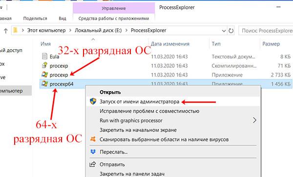 Запуск программы Process Explorer