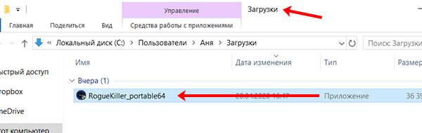 Файл в папке Загрузки
