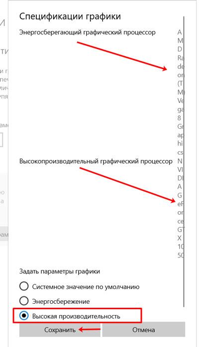 Окно Спецификации графики