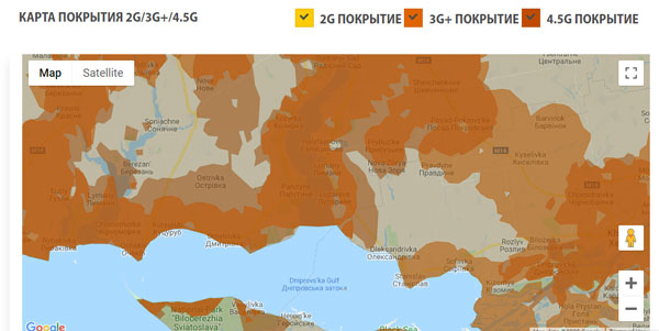 Карта покрытия мобильного оператора