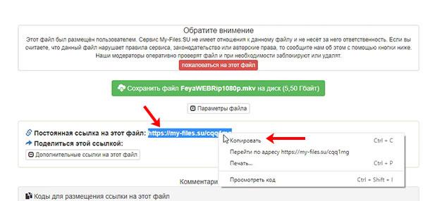 Копирование ссылки на файл