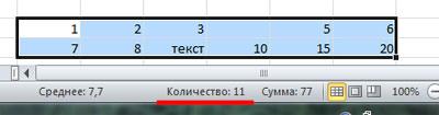 Как посчитать количество ячеек в Excel